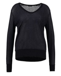 Jersey con cuello circular de rayas verticales negro de IKKS