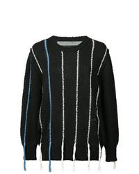 Jersey con cuello circular de rayas verticales negro de Raquel Allegra