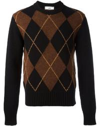 Jersey con cuello circular de rombos en marrón oscuro de AMI Alexandre Mattiussi