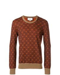Jersey con cuello circular de rombos marrón de Gucci