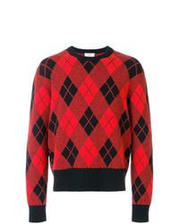 Jersey con cuello circular de rombos rojo de AMI Alexandre Mattiussi