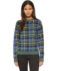 Jersey con cuello circular de tartán en azul marino y verde