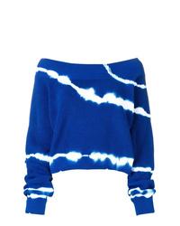 Jersey con cuello circular efecto teñido anudado azul