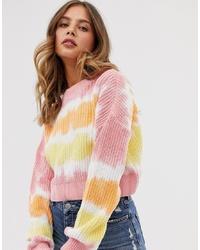 Jersey con cuello circular efecto teñido anudado en multicolor de ASOS DESIGN