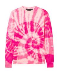 Jersey con cuello circular efecto teñido anudado rosa