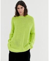 Jersey con cuello circular en amarillo verdoso de ASOS DESIGN