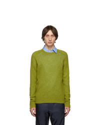 Jersey con cuello circular en amarillo verdoso de Prada