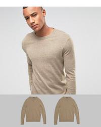 Jersey con cuello circular en beige de Asos