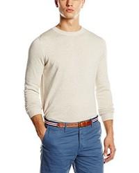 Jersey con cuello circular en beige de New Look
