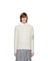 Jersey con cuello circular en beige de Thom Browne