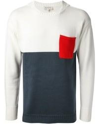 Jersey con cuello circular en blanco y azul marino de Paul & Joe