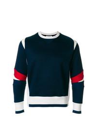Jersey con cuello circular en blanco y rojo y azul marino de Thom Browne