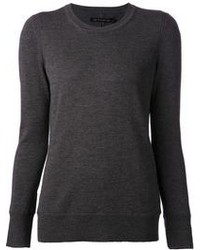 Jersey con cuello circular en gris oscuro
