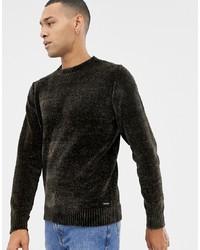 Jersey con cuello circular en marrón oscuro de Threadbare