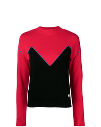 Jersey con cuello circular en rojo y negro de MSGM