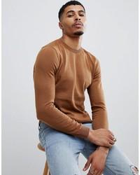 Jersey con cuello circular en tabaco de New Look