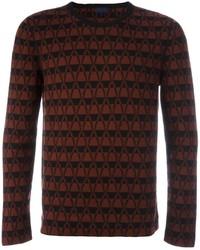 Jersey con cuello circular en zig zag burdeos
