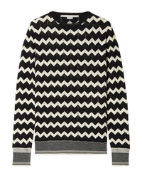 Jersey con cuello circular en zig zag en negro y blanco de Stella McCartney