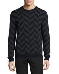Jersey con cuello circular en zig zag negro