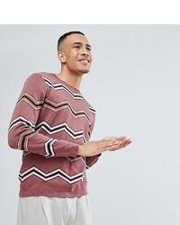 Jersey con cuello circular en zig zag rosado