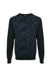 Jersey con cuello circular estampado azul marino de D'urban