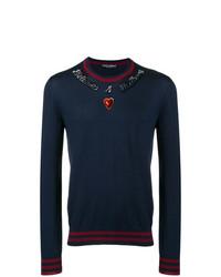 Jersey con cuello circular estampado azul marino de Dolce & Gabbana