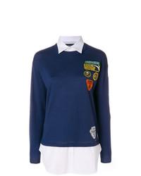 Jersey con cuello circular estampado azul marino de Dsquared2