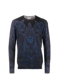 Jersey con cuello circular estampado azul marino de Etro