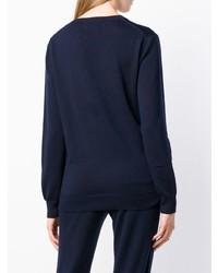 Jersey con cuello circular estampado azul marino de Markus Lupfer