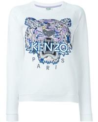 Jersey con cuello circular estampado blanco de Kenzo