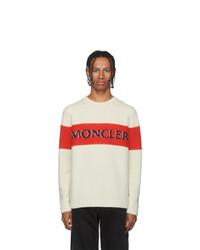 Jersey con cuello circular estampado blanco de Moncler Genius