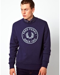 Jersey con cuello circular estampado en azul marino y blanco