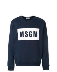 Jersey con cuello circular estampado en azul marino y blanco de MSGM