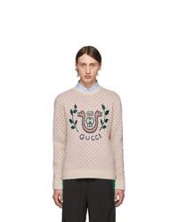 Jersey con cuello circular estampado en beige de Gucci