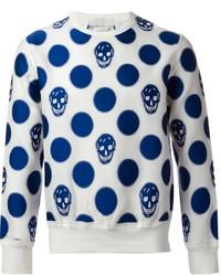Jersey con cuello circular estampado en blanco y azul marino de Alexander McQueen
