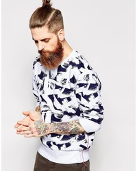 Jersey con cuello circular estampado en blanco y azul marino de Edwin