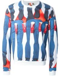 Jersey con cuello circular estampado en blanco y azul marino de MSGM