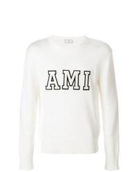 Jersey con cuello circular estampado en blanco y negro de AMI Alexandre Mattiussi