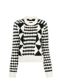 Jersey con cuello circular estampado en blanco y negro de Saint Laurent