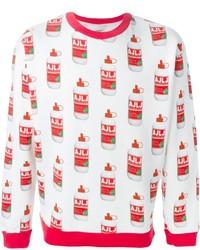 Jersey con cuello circular estampado en blanco y rojo de Au Jour Le Jour