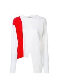 Jersey con cuello circular estampado en blanco y rojo de Stella McCartney