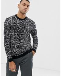 Jersey con cuello circular estampado en gris oscuro de ASOS DESIGN