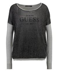 Jersey con cuello circular estampado en gris oscuro de GUESS