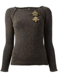 Jersey con cuello circular estampado en gris oscuro