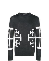 Jersey con cuello circular estampado en gris oscuro de Neil Barrett