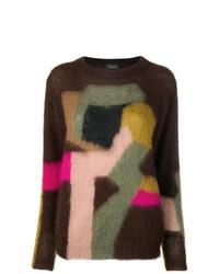 Jersey con cuello circular estampado en marrón oscuro de Roberto Collina