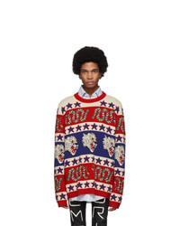 Jersey con cuello circular estampado en multicolor de Gucci