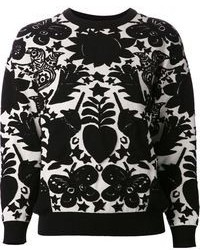 Jersey con cuello circular estampado en negro y blanco de Alexander McQueen