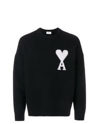 Jersey con cuello circular estampado en negro y blanco de AMI Alexandre Mattiussi
