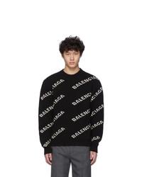 Jersey con cuello circular estampado en negro y blanco de Balenciaga
